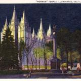Mormon Temple illuminated by night - Salt Lake City, Utah
